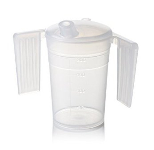 2 Handle Drinking Cup Beaker with Spout and Graduated Measurements Drinking Aid for the Elderly (BFH250BMS) With Lid