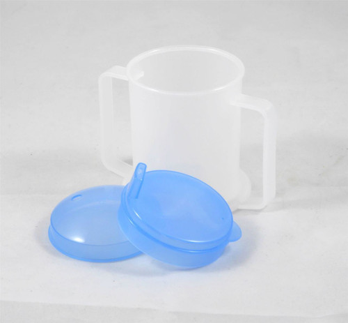 Medisure Two Handled Wide Base Cup Mug with Spouted and Straw Hole Lids 300ml