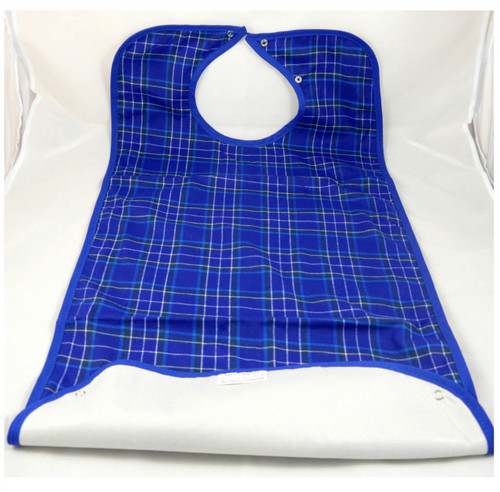 Tartan Adult bib with crumb catcher