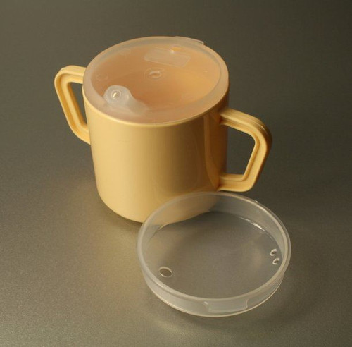 Two handles drinking cup beaker for the elderly and disabled good easy grip lid with spout yellow cream mug