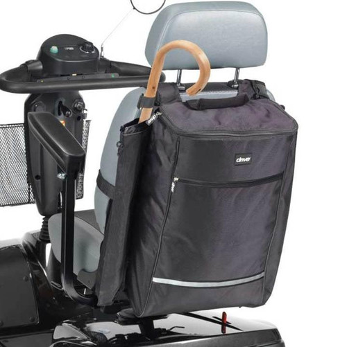 Mobility Scooter Bag Sack Holdall with Crutch Sleeve Holder Zipped Storage Compartment Reflective Strip