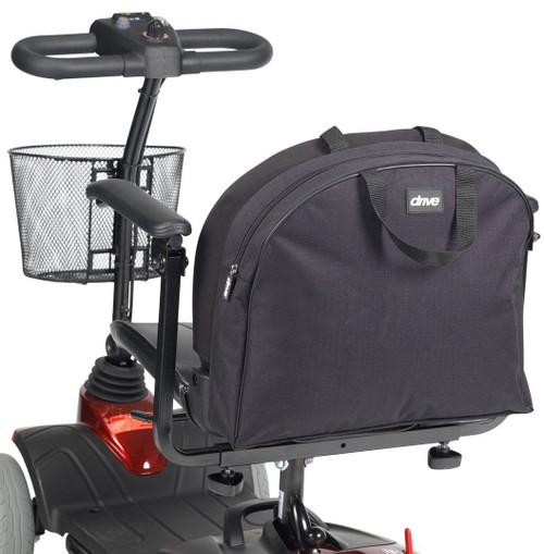 RT-SCBAG3 Mobility Scooter Backrest Seat Bag With Zippered Zip Storage Compartment Black Nylon and Carry Handles