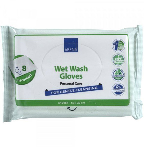 Abena Wet Wash Gloves per 8 Full Body Wash Waterless Bed Bath Unscented Unperfumed Cleansing