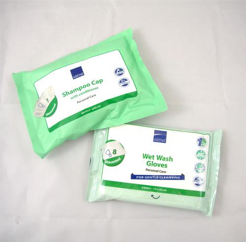 Abena Unscented Waterless Shampoo Cap Wet Wash Gloves Full Body Bath Cleansing Patients No Perfume Zero Parabens pH Neutral