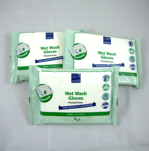 Abena Wet Wash Gloves Unscented No Perfumes Zero Parabens Full Body Wash Wipes Disposable 3 Packs of 8