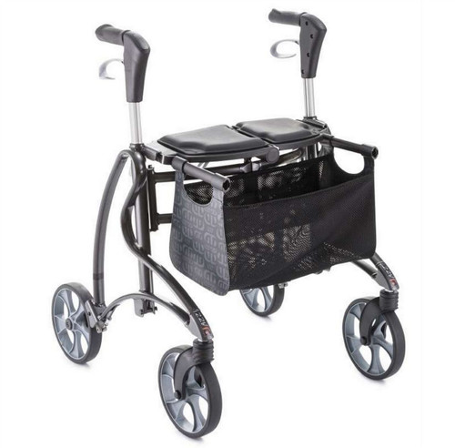 Dolomite Jazz 2 510 Folding four wheeled Rolator Walker 4 wheels with kerb climber back strap basket and seat