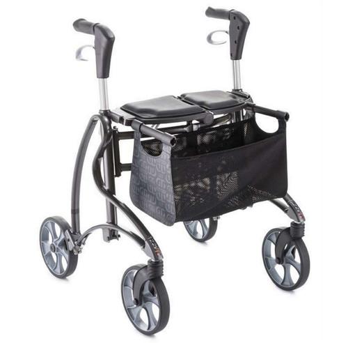 Dolomite Jazz 2 510 Folding four wheeled Rolator Walker 4 wheels with kerb climber back strap basket and seat