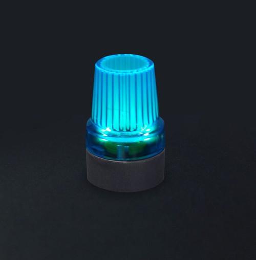 Blue Flashing LED Black Rubber Base Night Visibility Cane Crutch Walking Stick Tip End Ferrule