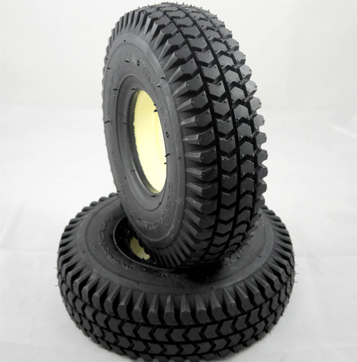 Pair of Black Solid Block Tread Mobility Scooter Puncture Proof Tyre with Infill Size 3.00-4 300x4 260x85