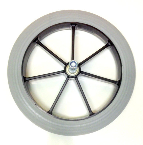 Grey FUSION315 Rear Wheel and Solid Tyre for NHS Style Wheelchairs Greentyre