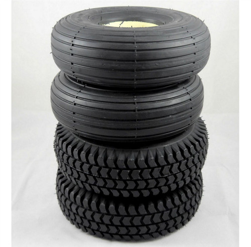 3.00-4 300x4 260x85 4 Black Solid Mobility Tyres Set 2 Rib Tread 2 Block Tread Puncture Proof