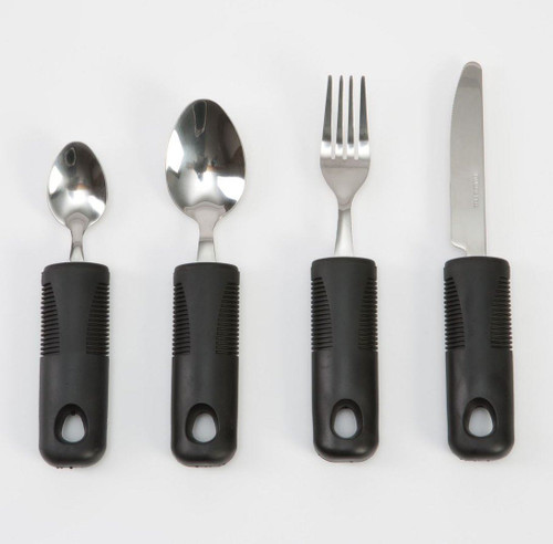 Comfy Grips Cutlery Set with Large Black Rubber Handles for Elderly with Reduced Dexterity Mobility Arthritis Sufferers