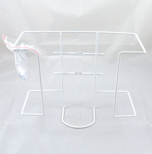 Economy White Powder Coated Wire Twin Double Glove Box Wall Dispenser