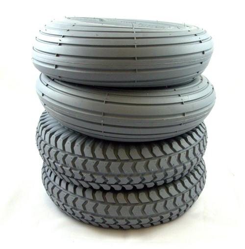 1 set 4 Pneumatic Tyres 2 Block Tread 2 Rib Tread Grey Mobility Scooter Inflatable Tyres 3.00-4 300x4 260x85