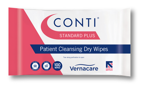 CPL110 Conti Standard Plus Dry Patient Wipes for Everyday Skin Care in Nursing Use per 500 5 Packs of 100 Synergy Health