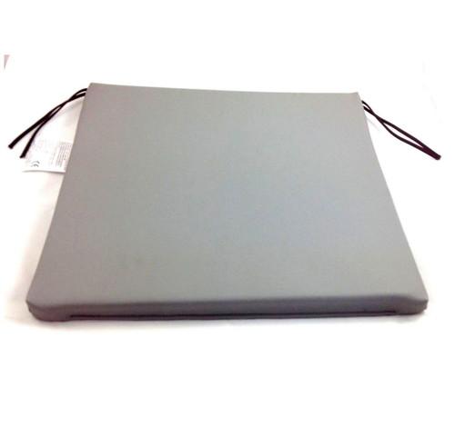 Grey Vinyl Foam Wheelchair Seat Cushion with Ties 18''x17''x1'' Easy to Clean 1'' Deep
