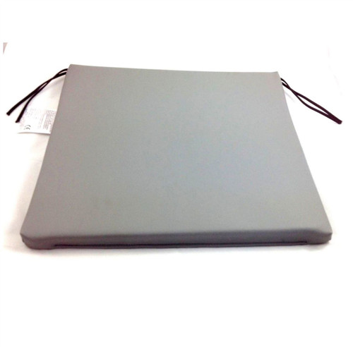 Grey Vinyl Foam Wheelchair Seat Cushion with Ties 18''x17''x1'' Easy to Clean 1'' Deep