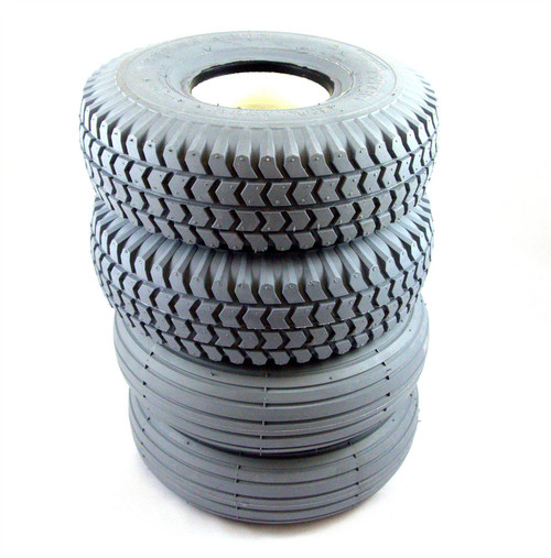 4 x Grey Solid Infilled Puncture Proof Mobility Scooter Tyres 2 Block Tread 2 Rib Tread