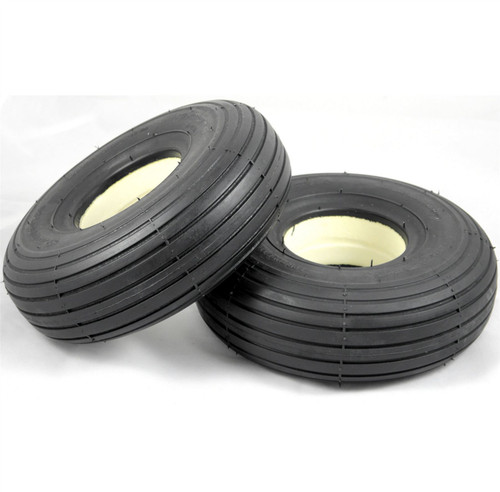 Pair 3.00-4 300x4 260x85 Black Solid Rib Tread Infilled Puncture Proof Mobility Scooter Tyres