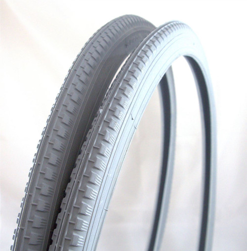 Pair 24'' x 1 3/8'' Grey Pneumatic Wheelchair Tyres (37-540) Duro