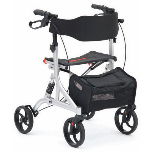 Drive Shock Absorbing Suspension Four Wheel Rollator Walker with Seat Backrest Bag Cane Holder and Arthritic Friendly Brakes