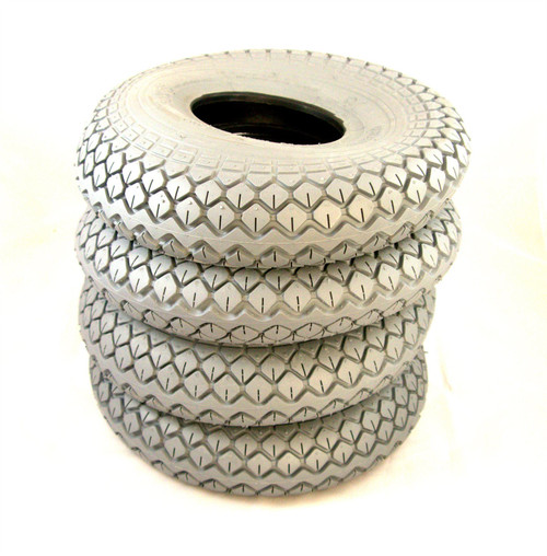 Grey Pneumatic Diamond Pattern Block Tread 4.00-5 330x100 Mobility Scooter Tyres Set of 4 C154