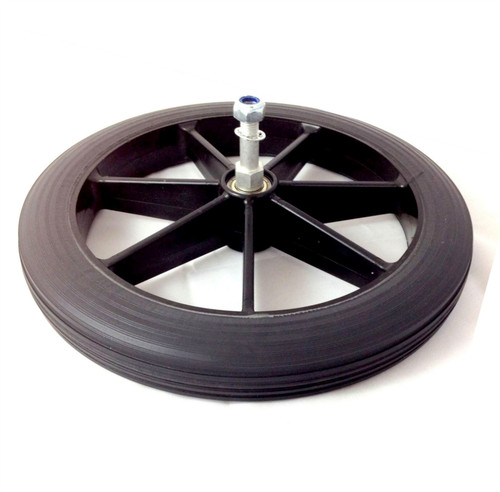 "Black 315mm Solid Fusion Rear Wheelchair Wheel and Tyre for NHS Style Wheelchair 12 1/2'' 3.5cm long (1 1/2"") Axle"