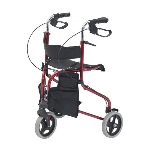 Red Tri Wheel Three Wheel Walker Walking Rollator Frame for the Elderly with Brakes and Seat and Storgage compartments Height Adjustable Handles