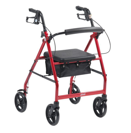 4 Wheeled Walker Rollator Walking Frame with Padded Seat Lift up Lid Storage Compartment Padded Backrest Loop Lock Brakes for Arthritis Indoor and Outdoor Use Red