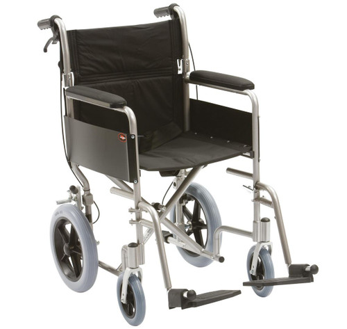 Drive Lightweight Transit 18'' Folding Wheelchair with Cable Brakes Half Folding Backrest Quick Release Footrests Solid Rear Tyres