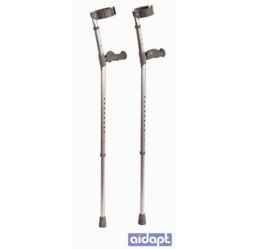 Aidapt Ergonomic Handled Elbow Crutches Pair Closed Cuff Double Height Adjustable VP148C