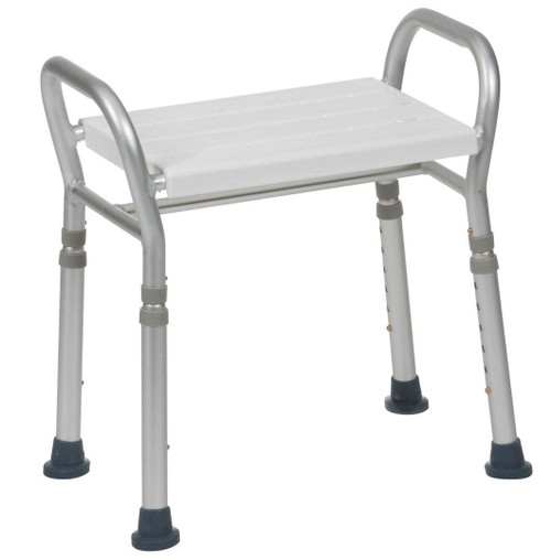 127ALUKDR Height Adjustable Aluminium Lightweight Corrosion free Wet Room Shower Stool Seat Bench with Handles Drainage Holes for Mobility Disabled and Elderly non Slip Feet