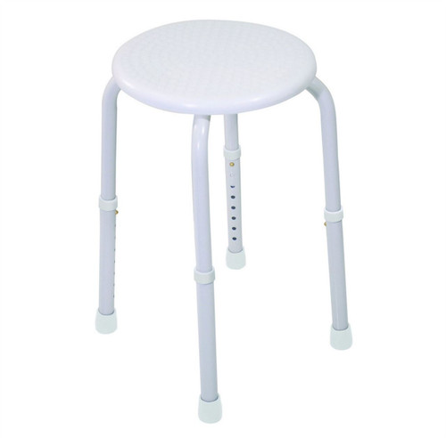 VB511AW White Multi Purpose Aluminium Height Adjustable Stool Seat with Moulded Plastic Seat Rust Proof Powder Coated Legs and Non Slip Feet