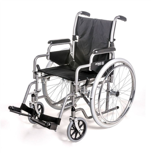 Roma 1000 Standard Steel Self Propelled Self Pushing Wheelchair with Fold Down Back Swing Away Footrests and Solid Tyres