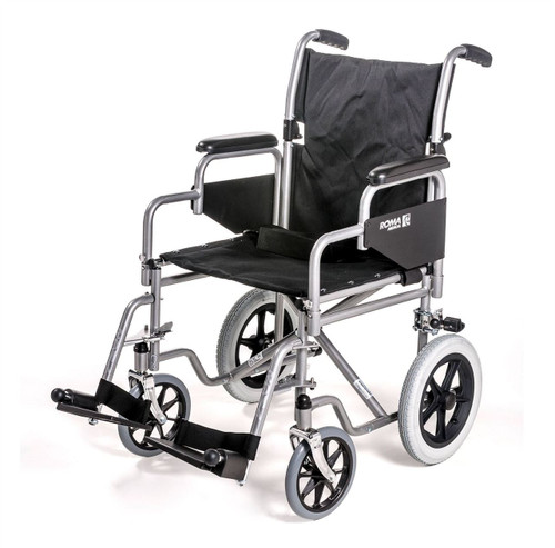 Roma 1100 Standard Steel Transit Wheelchair Sturdy Heavy Duty With Footrests Padded Arms Folding Back