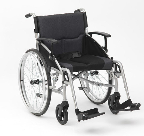 Drive Phantom Self Propelled Push Yourself Wheelchair 19'' With Adjustable Footrests and Armrests Half Folding Backrest and Quick Release Wheels