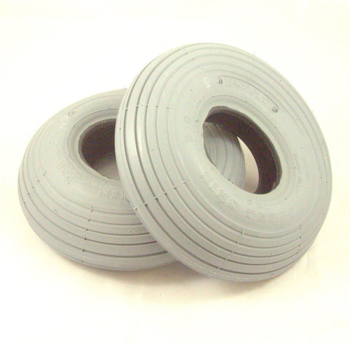 Pair of 3.00-4 260x85 Grey Rib Pneumatic Mobility Scooter Tyres Cheng Shin C179PNPAIR