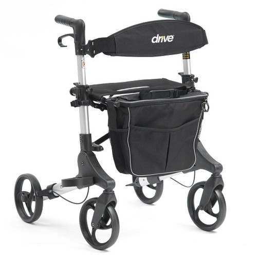 1044SL Genesis Dual Folding Compact Rollator Height Adjustable Walker with Seat Backrest Detatchable bag with Shoulder Strap and Cane Walking Stick Holder