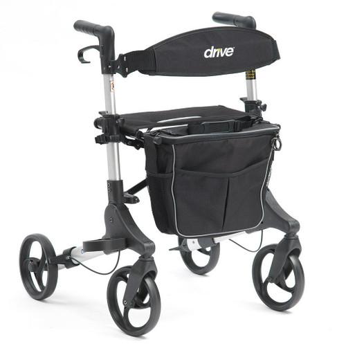 1044SL Genesis Dual Folding Compact Rollator Height Adjustable Walker with Seat Backrest Detatchable bag with Shoulder Strap and Cane Walking Stick Holder