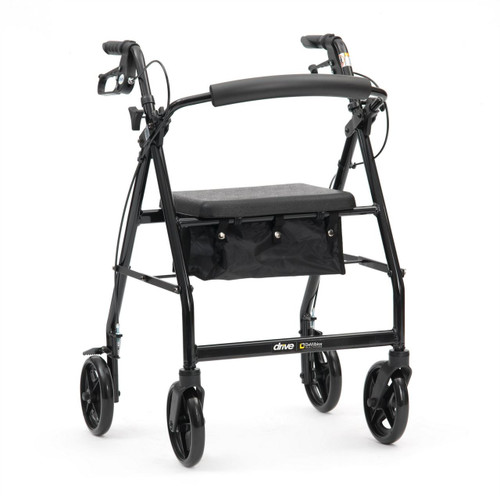Black R8 Drive Folding 4 Wheeled Rollator Walker With Brakes Seat Backrest