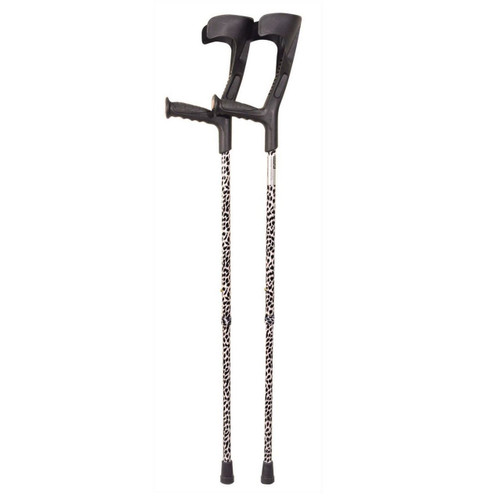 Black and White Patterned Open Cuff Height Adjustable Crutches  Aidapt VP146SB