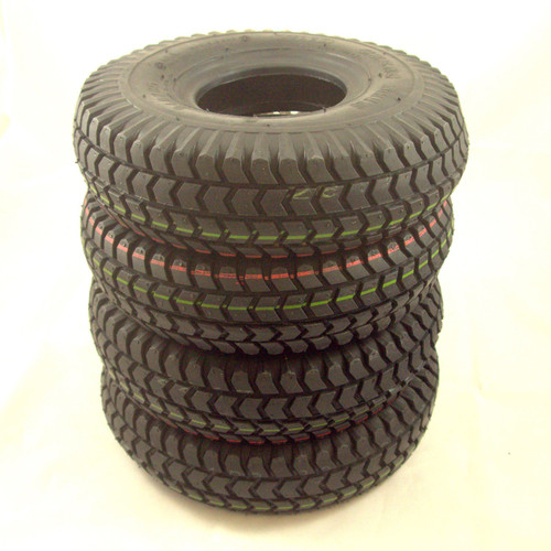 C248PNBX4 Set of 4 Black Block Tread Pneumatic Mobility Scooter Tyres