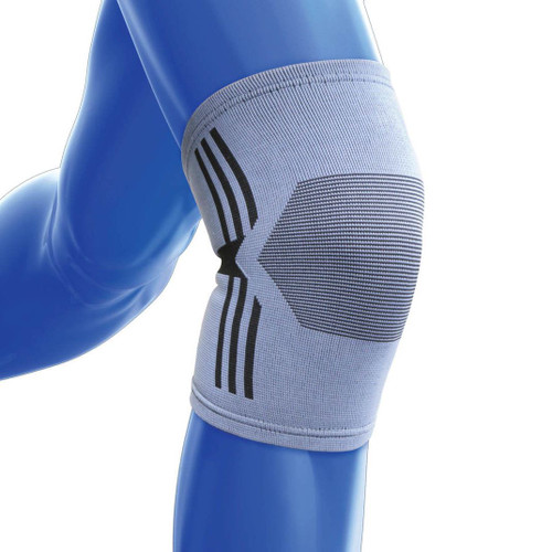 Kedley Large 4 Way Stretch Fabric Knee Support for Strains Sprains Sport Injuries Band Grey Blue Elasticated Leg KED002
