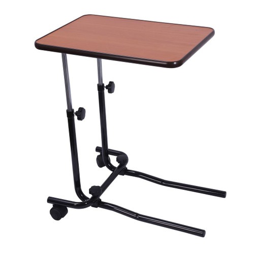 701 Drive Brown Height Adjustable Over bed Table with 2 Back Rear Castor Tyres Angle Adjustable Top