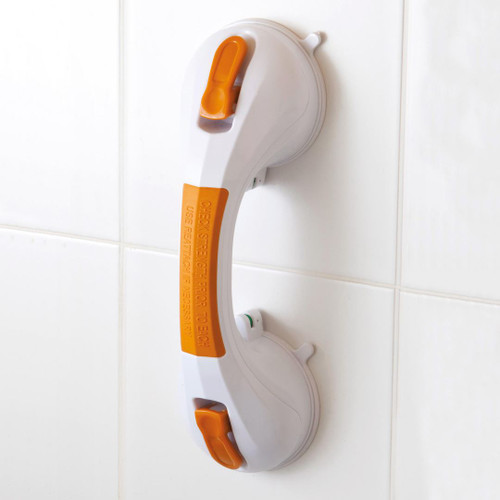 13082 Drive Suction Cup Grab Bar Temporary With Indicator White Orange no DIY Holes