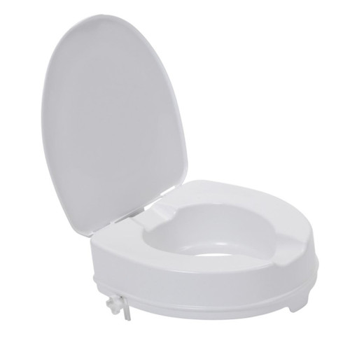 Drive Raised 2'' Toilet Seat With Lid No Tools Screw on Easy to Clean Toileting Disability Aid 12063