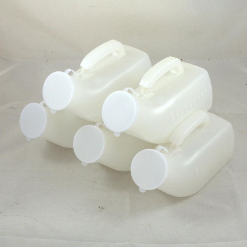 5 Male Urinal Urine Bottles with Lid Handle Measurements Capacity 1000ml Medisure SD16358PER5
