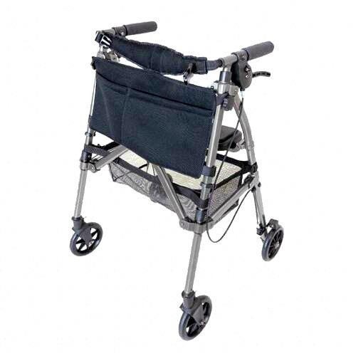 Able2 Stander EZ Fold-N-Go Folding Extra Compact Four Wheeled Rollator Walker with Brakes and Seat Black Walnut Grey Brown PR30183