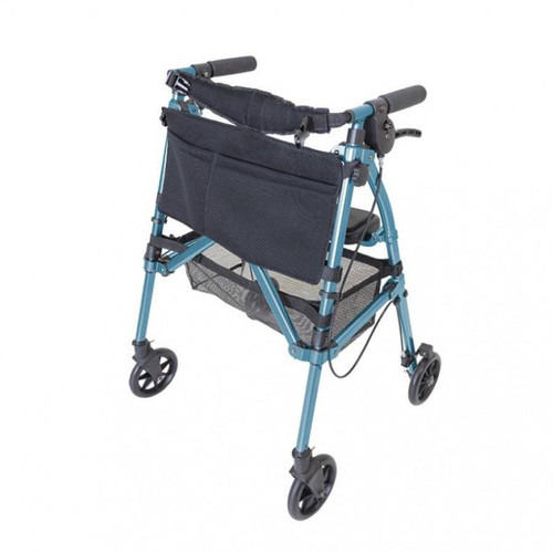 Able2 Stander EZ Fold-N-Go Folding Compact Portable Travel Rolator Mobility Walker Walking Aid Blue Four Wheeled with Brakes