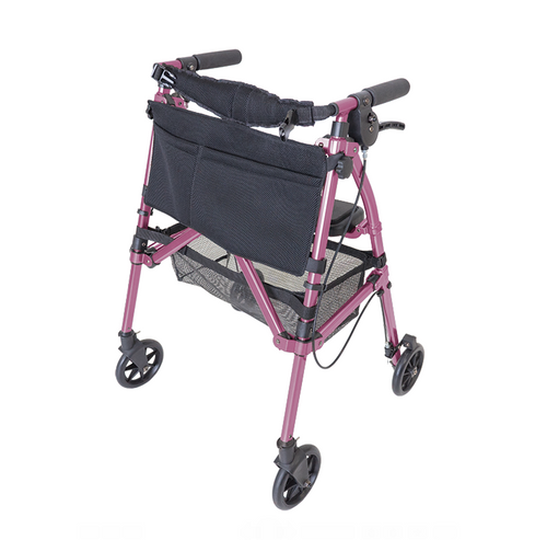 Pink Four Wheeled Rollator EZ-Fold-N-Go Mobility Walker Walking Aid Regal Rose With Seat Brakes Compact Travel